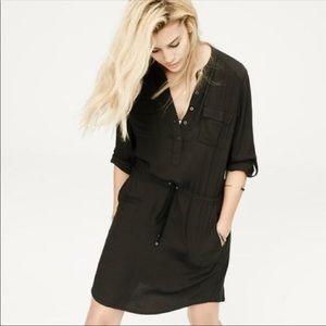 Lou & Grey Black Drawstring Shirt Dress size M